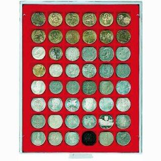 Münzenbox mit eckigen Vertiefungen Ø 30 (Lindner 2148)