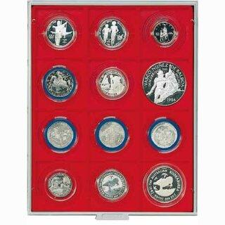 Münzenbox mit eckigen Vertiefungen Ø 68 (Lindner 2213)