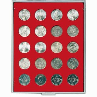 Münzenbox mit runden Vertiefungen Ø 38 (Lindner 2102)