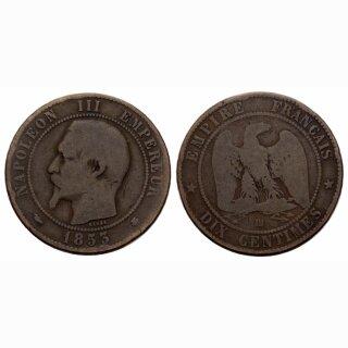 Frankreich  10 Centimes 1853 BB Napoleon III